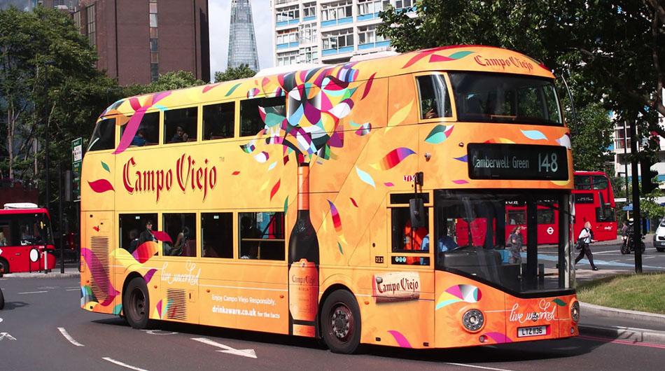 full wrap campo viejo bus london bus advertising